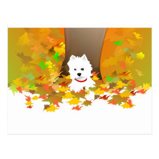Post Card - Westie Autumn Leaves