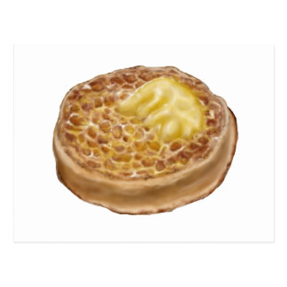 post card with hand drawn crumpet illustration
