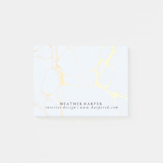 Post It Notes Notepad - Blue & Gold Marble