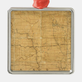 Post route map of the Territory of Dakota Christmas Ornament
