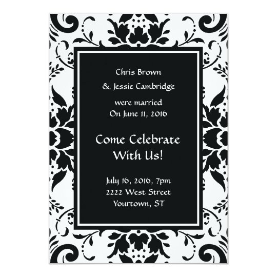 Post wedding announcement party invitation damask