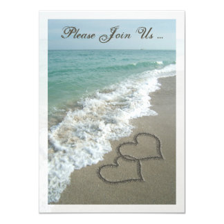 Post-Wedding Reception Destination Beach Hearts 11 Cm X 16 Cm Invitation Card