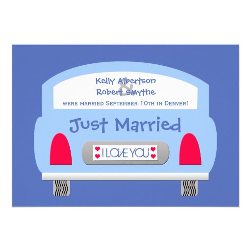 Post Wedding Reception Invitation -- Blue Car Personalized Invitations