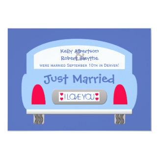 Post Wedding Reception Invitation -- Blue Car