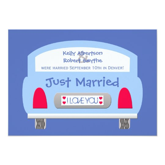 Post Wedding Reception Invitation -- Blue Car