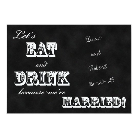 Post Wedding Reception Invitation Chalkboard Zazzle