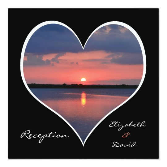 Post Wedding Reception Invitation - Heart Sunset