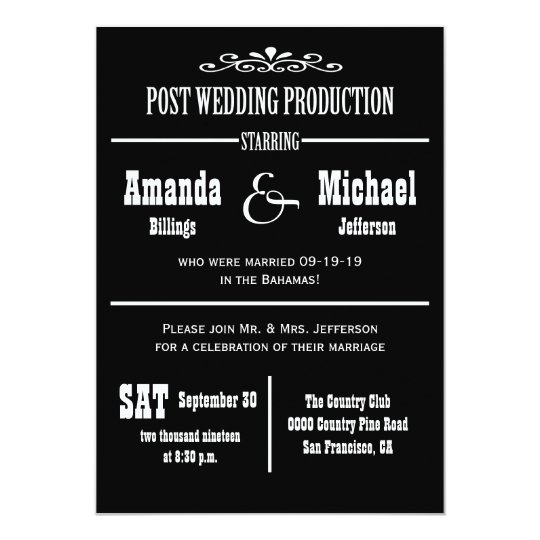 Post Wedding Reception Invitation - Theatre Style