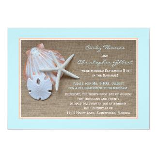 Post Wedding Reception Invitations - Beach Burlap