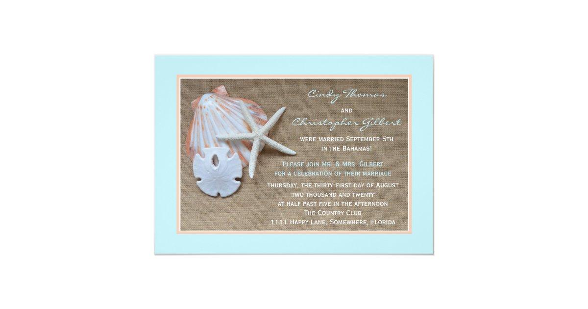 Post Wedding Invitations Reception: Post Wedding Reception Invitations - Beach Burlap