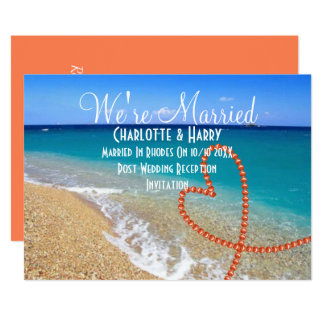 Post Wedding Reception Party Sunny Beach Scene 13 Cm X 18 Cm Invitation Card