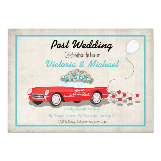 Post Wedding Retro Car Just Married Invitation