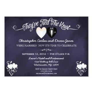 Post Wedding Trendy Blue Chalkboard Invitation