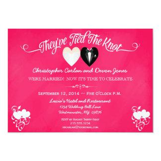 Post Wedding Trendy Pink Chalkboard Invitation