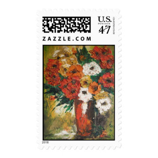 Postage Stamp Ann Hayes Painting Red Flowers Mixed