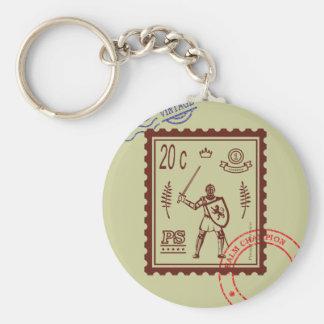 Postage Stamp Feudal Knight Keychain