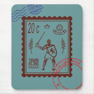 Postage Stamp Feudal Knight Mouse Pad