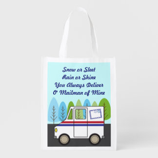 Postal Mail Truck Mail Man Reusable Grocery Bag