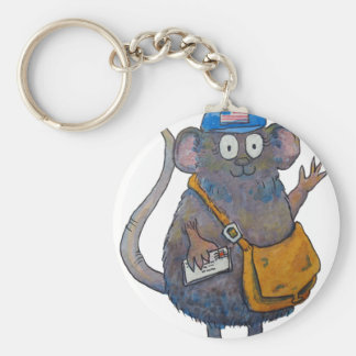 Postal Post Mail Carrier Postman Thank You Mouse Basic Round Button Key Ring