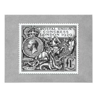 Postal Union Congress 1929 1 Pound Postage Stamp 11 Cm X 14 Cm Invitation Card