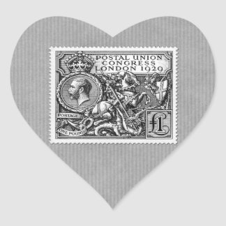 Postal Union Congress 1929 1 Pound Postage Stamp Heart Sticker
