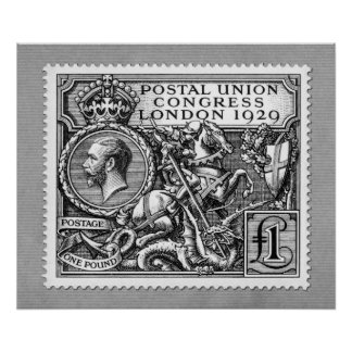 Postal Union Congress 1929 1 Pound Postage Stamp Poster