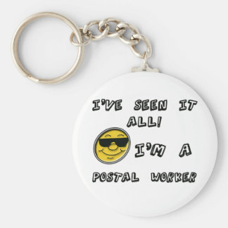 Postal Worker Basic Round Button Key Ring