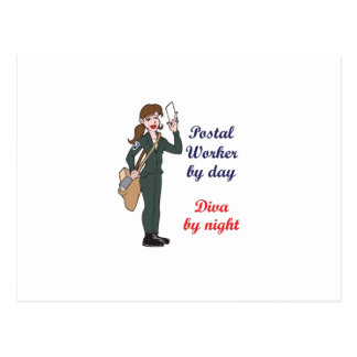 POSTAL WORKER BY DAY POSTCARD