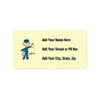 Postal Worker Stick Figure Address Label