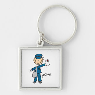 Postal Worker Stick Figure Silver-Colored Square Key Ring