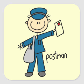 Postal Worker Stick Figure Square Sticker