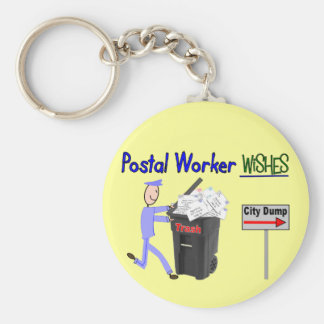 Postal Worker Wishes--Funny Basic Round Button Key Ring