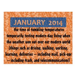 "POSTCARD14.01.8.JANUARY FUN ""Wacky Winter Weather"" Postcard"