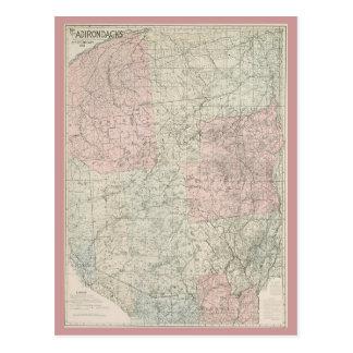 Postcard 1912 Map of The Adirondacks