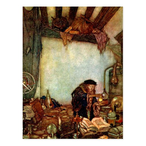 Postcard: Alchemist and His Gold by Edmund Dulac
