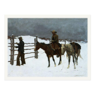Postcard Art With Cowboys In The Snow