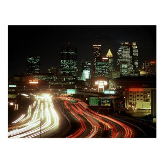 Postcard Atlanta Night Fulton St Central Ave Dome