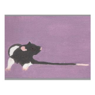 Postcard Black hooded fancy pet rat painting