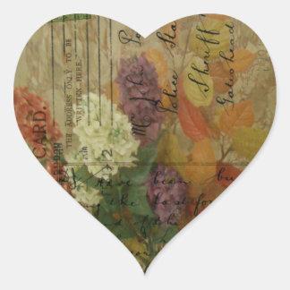 Postcard Blooms Heart Sticker