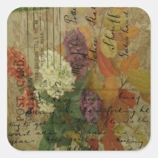 Postcard Blooms Square Sticker