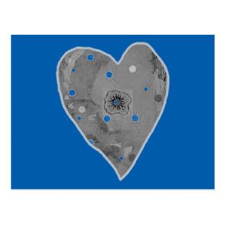 Postcard Blue Gray Heart