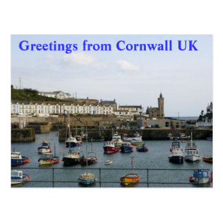 POSTCARD - Boats in the village harbour Cornwall