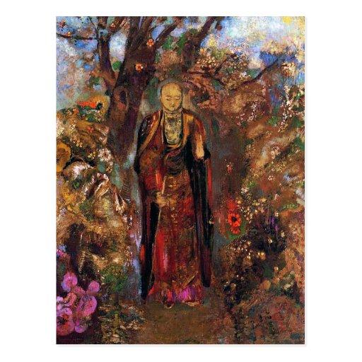 Postcard:  Buddha Walking Among the Flowers