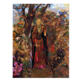 Postcard:  Buddha Walking Among the Flowers Postcard