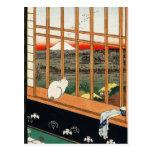 Postcard: Cat on Window by Hiroshige 歌川広重