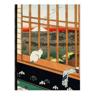 Postcard: Cat on Window by Hiroshige 歌川広重 Postcard