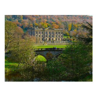 Postcard Chatsworth House and Bridge, England