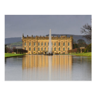 Postcard Chatsworth House Lake Reflections the