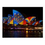 Postcard Colorful Sydney Opera House at Night Aus. Carte Postale