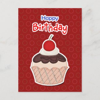 Postcard - Cupcake - Happy Birthday